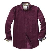 全棉舒适灯芯绒素色长袖衬衫