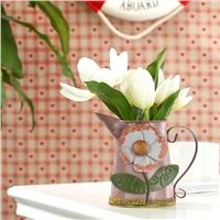 欧式现代田园风格—铁艺手绘向日葵花插